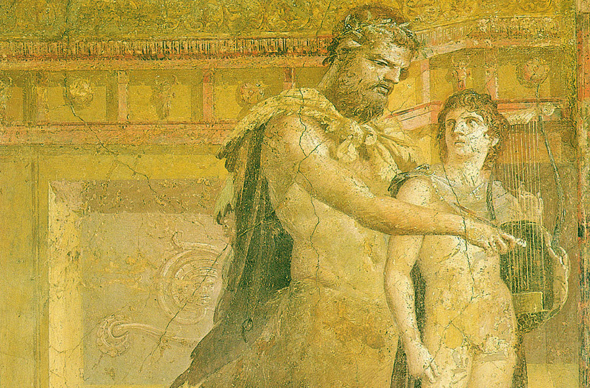 2nd Century BCE fresco of Chiron educating Apollo.